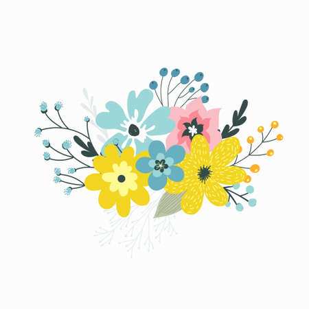 Colorful vector set of floral compositions in gentle colors. Illustration