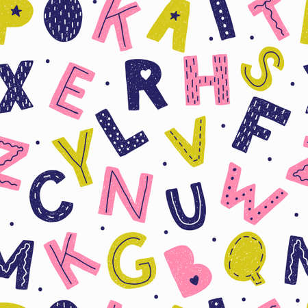 Seamless pattern with letters in doodle style.