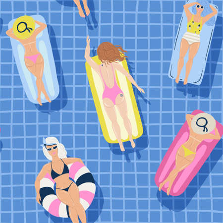 Summer seamless pattern with girls swimming in the pool. People relax.