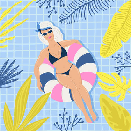 People swimming relax. Vector retro cartoon illustration, trendy style Banque d'images - 112025407