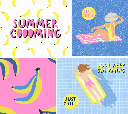 People swimming, relax. Vector retro cartoon illustration, trendy style