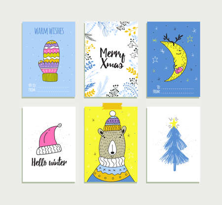 Christmas set of gift labels and tags with illustrations of cute winter decoration. Vector winter symbols. Banque d'images - 112025409