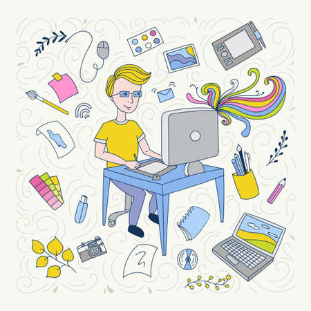 Illustration thin line design of vector doodles, infographics elements. Cute people. Doodle style. Banque d'images - 112025417