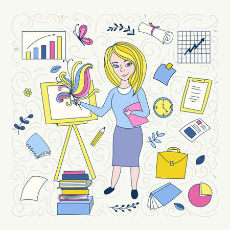 Illustration thin line design of vector doodles, infographics elements. Cute people. Doodle style. Banque d'images - 112025421