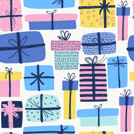 Vector background. Christmas wallpaper, wrapping paper, wall art design Banque d'images - 110524461