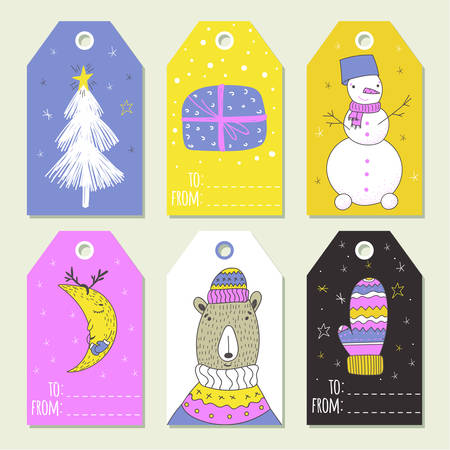 Christmas set of gift labels and tags with illustrations of cute winter decoration Banque d'images - 110524466