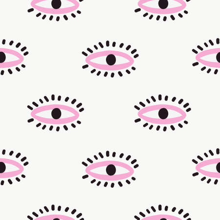 Seamless pattern in the style of psychedelic eyes with his lips. Pattern for fashion with eyes. Banque d'images - 110524470