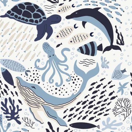 Zestaw z ręcznie rysowane elementy życia morskiego.