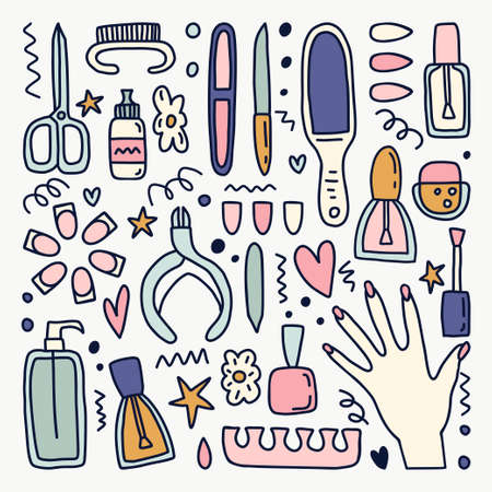 Vector clipart set of manicure tools for your design. Illustration