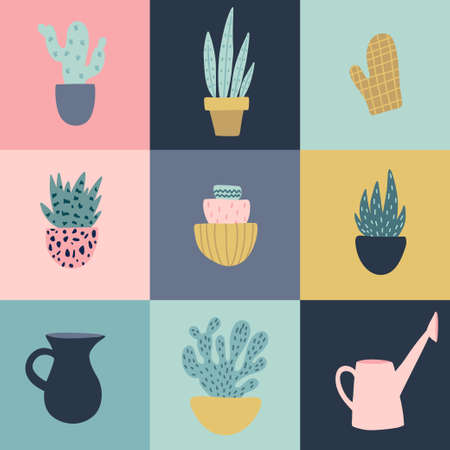 Vector illustration of gardening elements. Beautiful print with home plants.