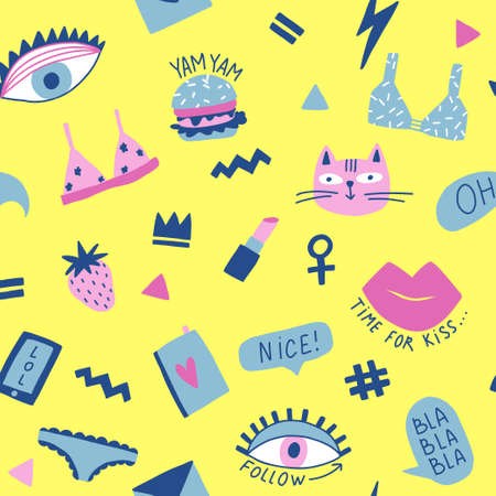 Seamless pattern with hand phrases and symbols for teenage girls. Banque d'images - 110447470