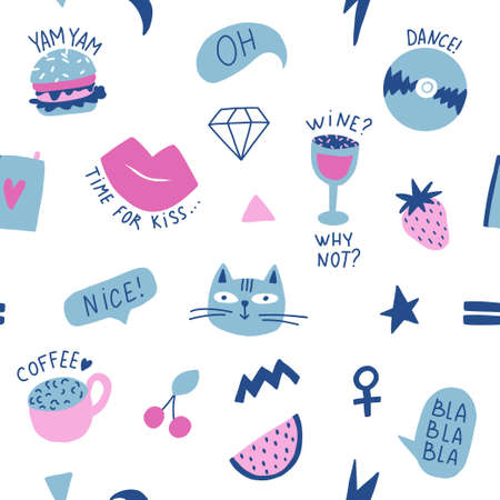 Seamless pattern with hand phrases and symbols for teenage girls. Banque d'images - 110447494