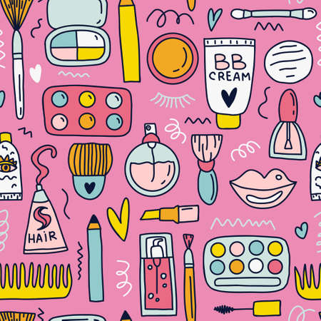 Cute doodle illustration with cosmetics symbols isolated on white background. Banque d'images - 110447498