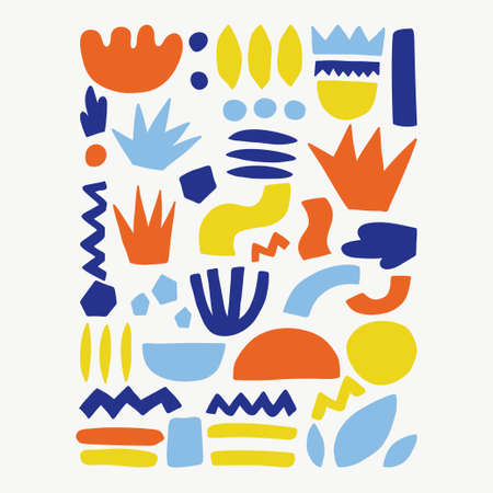 Trendy vector color abstract pieces. Paper cutouts. Hand drawn modern design for card, print on clothes. Banque d'images - 123510180