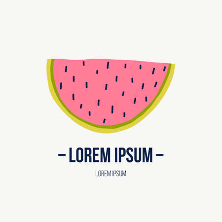 Doodle illustration with watermelon. Logo template for your design. Vegetarian eating. Vector clipart. Banque d'images - 123510191