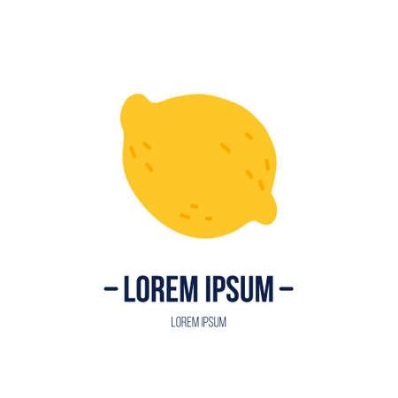 Doodle illustration with lemon. Logo template for your design. Vegetarian eating. Vector clipart. Banque d'images - 123510193