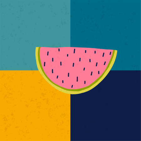 Doodle illustration with watermelon. Logo template for your design. Vegetarian eating. Vector clipart. Banque d'images - 123510279