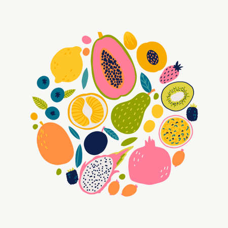 Cute doodle illustration with fruit isolated on white background. Banque d'images - 123510283