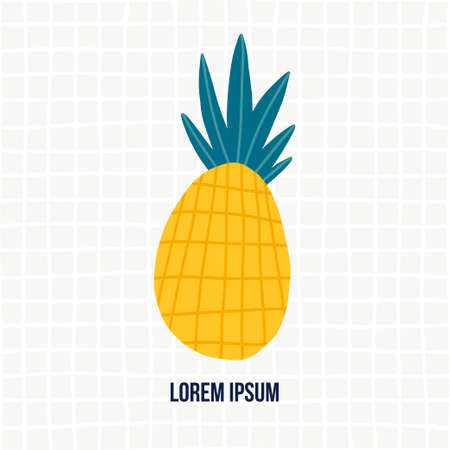 Doodle illustration with pineapple. Logo template for your design. Vegetarian eating. Vector clipart.