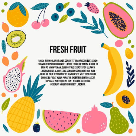 Cute doodle illustration with fruit isolated on white background. Banque d'images - 123510294
