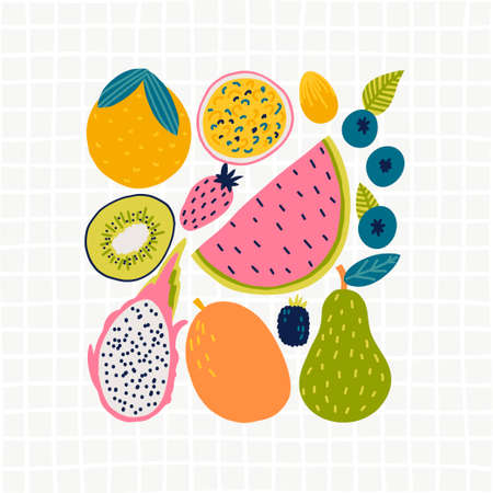 Cute doodle illustration with fruit isolated on white background. Banque d'images - 123510320