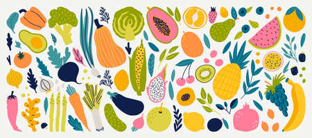Cute doodle illustration with vegetables and fruits isolated on white background.