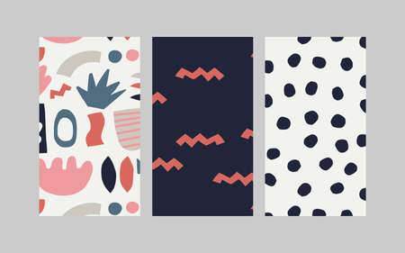 Set of trendy modern abstract stories templates. Trendy design poster, cover, card design. Ilustracja