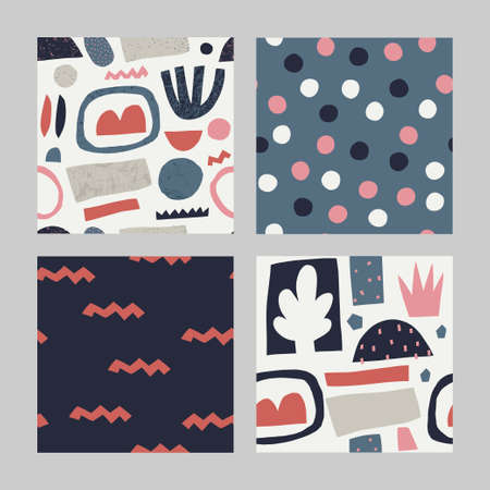 Set with abstract seamless pattern.