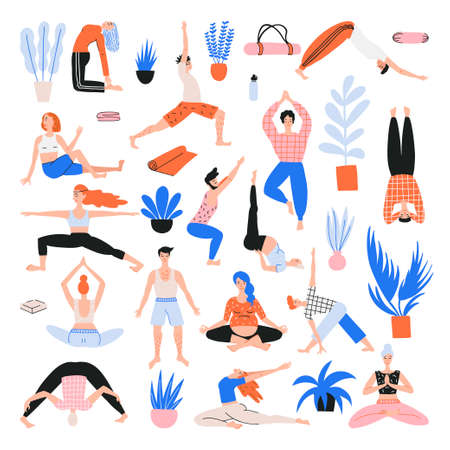 Vector collection with cartoon people in yoga position and meditate. Lifestyle infographics, mental and physical benefits of practice.