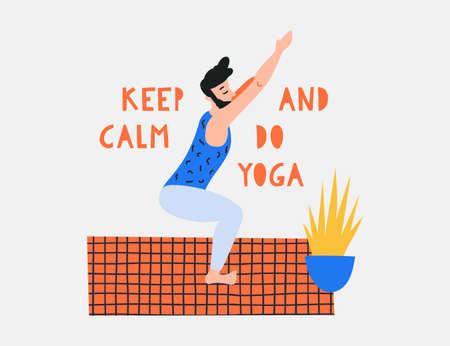 Vector illustration with people in yoga position and meditate. Template for yoga retreat or yoga studio, mental and physical benefits of practice. Vectores