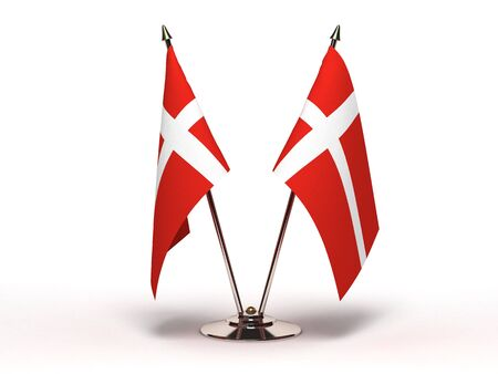 Miniature Flag of Denmark(Isolated with clipping path) Stock Photo