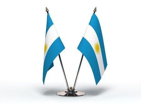 Miniature Flag of Argentina (Isolated with clipping path) Stock Photo