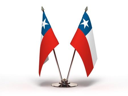 bandera chilena: Bandera en miniatura de Chile (aislado con trazado de recorte)