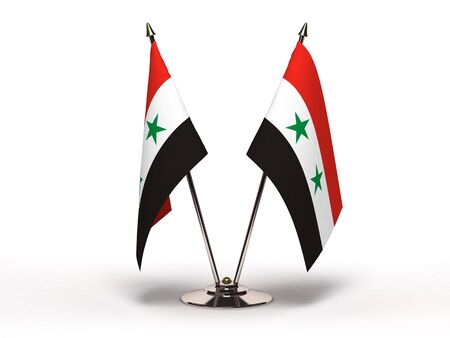 Miniature Flag of Syria(Isolated with clipping path) Stock Photo