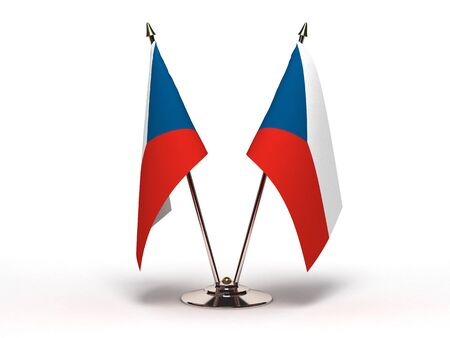 Miniature Flag of Czech Republic Isolated with clipping path