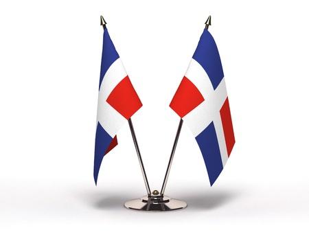 Miniature Flagge der Dominikanischen Republik isoliert mit Beschneidungspfad