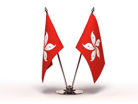 Miniature Flag of Hong Kong Isolated with clipping path