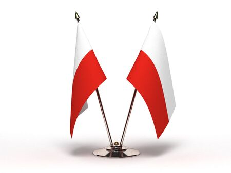 Miniature Flag of Poland  Isolated with clipping path  Stock Photo
