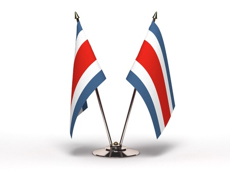 Miniature Flag of Costa Rica (Isolated with clipping path)