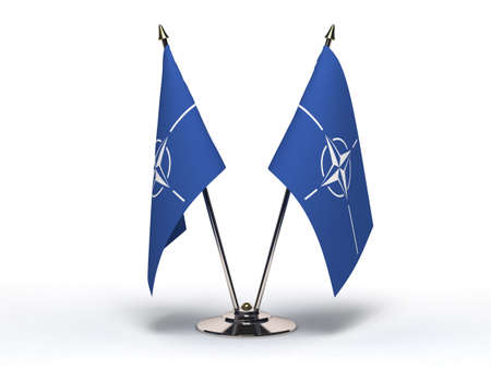 Miniature Flag of NATO  Isolated with clipping path Editorial
