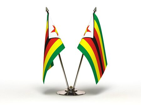 Miniature Flag of Zimbabwe Isolated with clipping path