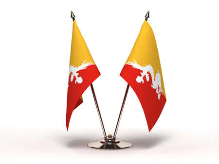 Miniature Flag of Bhutan  Isolated with clipping path