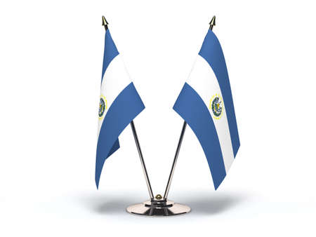 Miniature Flag of El Salvador Isolated with clipping path Stock Photo - 19927489