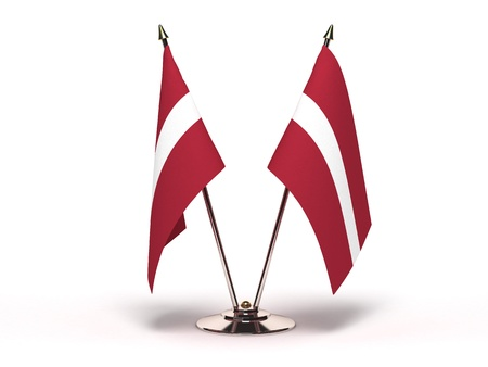 Miniature Flag of Latvia Isolated with clipping path  Stock Photo - 19927486