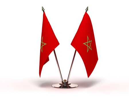 Miniature Flag of Morocco Isolated with clipping path