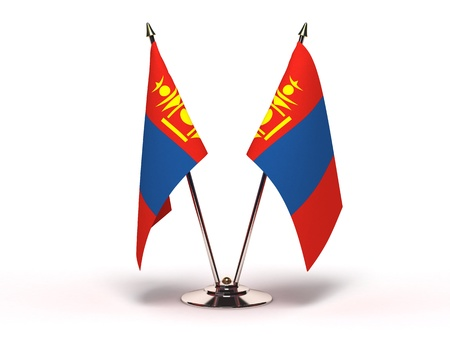 Miniature Flag of Mongolia Isolated with clipping path