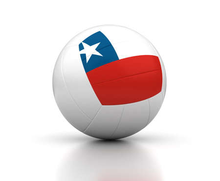 Chilean Volleyball Team  isolated with clipping path