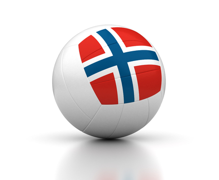 Norwegian Volleyball Team  isolated with clipping path