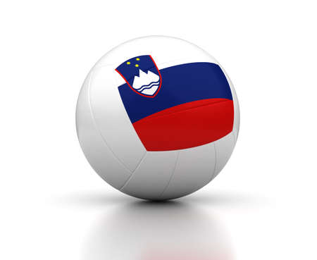 Slovenian Volleyball Team  isolated with clipping path  Stock Photo
