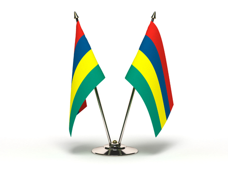 Miniature Flag of Mauritius(Isolated with clipping path) Stock Photo